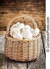 raw fresh champignons in  the basket