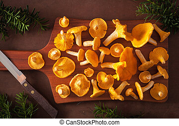 raw fresh chanterelle mushrooms on dark background