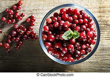 fresh cranberries in a plate