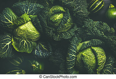 Raw fresh green cabbage texture and background, top view ...