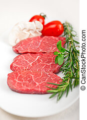 Kobe Miyazaky beef - raw fresh Kobe Miyazaky beef with ...