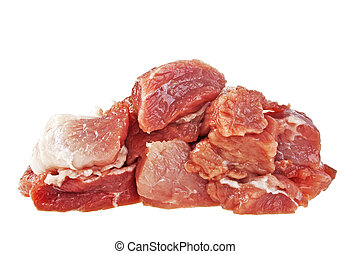 Raw fresh meat chunks isolated on white background
