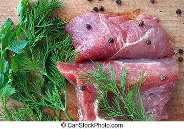 Raw Fresh Meat  on Wooden Board