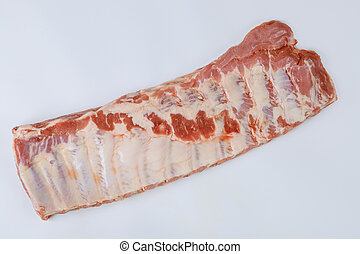 Raw fresh meat ribs row with isolated on white background