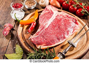 Raw fresh meat t-bone steak