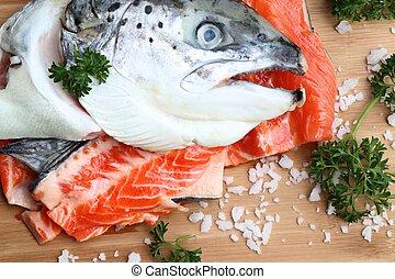 raw fresh of salmon