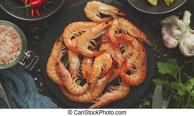 Raw fresh prawns with various ingredients such as lemon ...