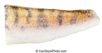 raw frozen zander (pike-perch) fillet isolated