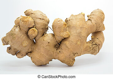 Raw Ginger on white background