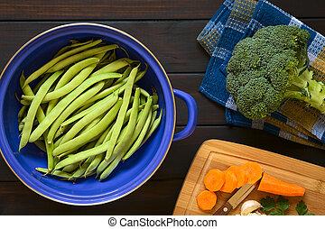 Raw Green Bean, Broccoli and Carrot