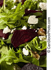 Raw Green Beet and Arugula Salad with Feta