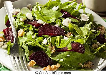 Raw Green Beet and Arugula Salad with Feta