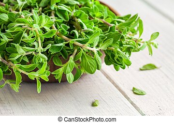 raw green herb marjoram in the bowl on a white wooden table