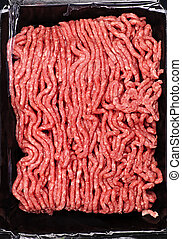 Raw ground meat - Close up on package of lean red raw ground...