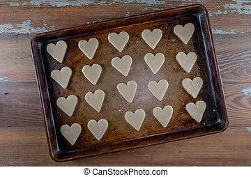 Raw Heart Cookies On Sheet Pan
