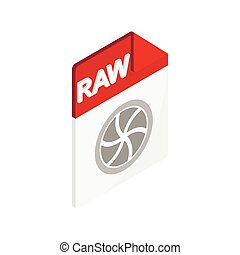 RAW icon, isometric 3d style