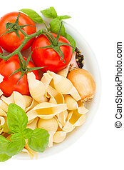 raw italian pasta in plate