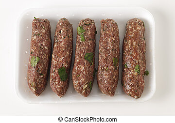 Raw lamb kofta in a tray - Supermarket tray of raw Lebanese...