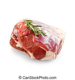 Raw lamb leg with rosemary twig isolated on white