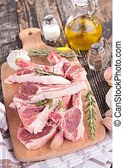 raw lamb meat ribs on board