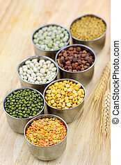 Raw lentils - Raw food grains in small steel cups