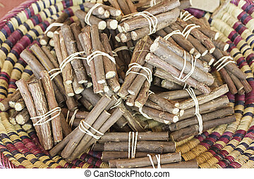 Raw licorice sticks