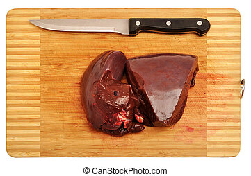 Raw liver - Fresh red raw liver pieces
