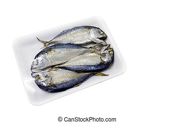 Raw mackerel fish steamed in foam tray, Platow, pla2, with plastic wrap foam isolated on background white