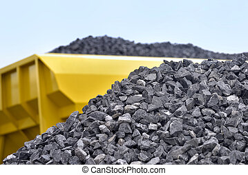 Raw materials crushed stones - Heap of raw materials crushed...