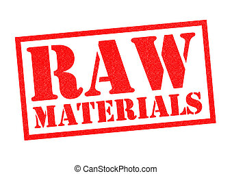 RAW MATERIALS red Rubber Stamp over a white background.