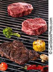 Raw Meat and vegetables char-grilled over flame
