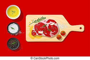 Raw meat , beef steak and seasoning on cutting board , food preparation on red background