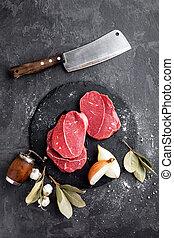 Raw meat, beef steaks
