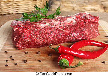 Raw meat beef, thick edge on a wooden board - Raw meat, beef...