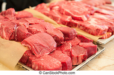 Raw meat. Chopped steaks medallions of marbled veal on a...