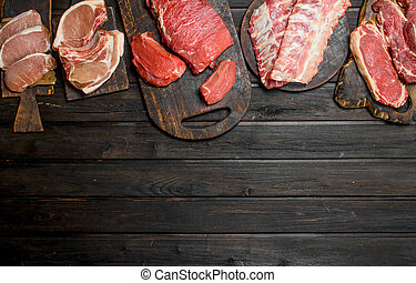Raw meat. Different kinds of pork and beef meat.
