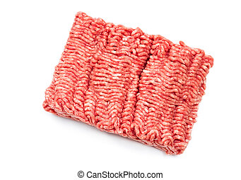 Raw meat mince - Pork and beef mince isolated on white ...