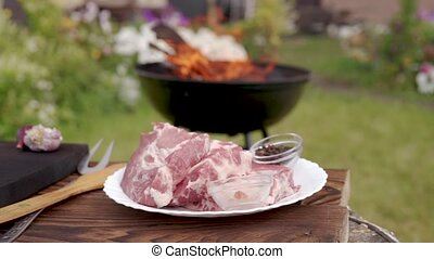 raw meat on a white plate prepared for bbq grill, Backyard...