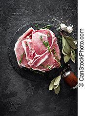 Raw meat, pork steaks