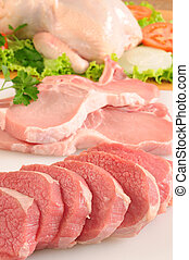 Raw Meat - Raw chicken and sliced meat with vegetables