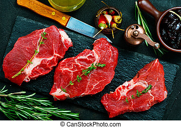 raw meat with aroma spice and sea salt
