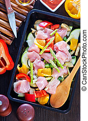 raw meat with vegetables and with aroma spice