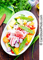 raw meat with vegetables in the bowl