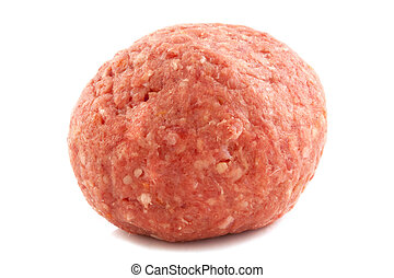 Raw meatball - Big raw meatball isolated on a white ...