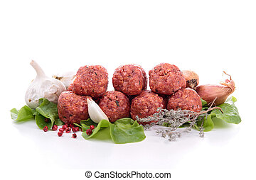 raw meatball on white
