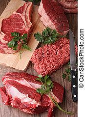 raw meat, studio shot
