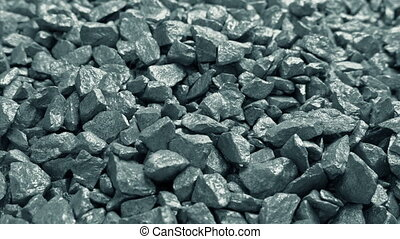 Raw Metal Ore Rocks Moving Shot