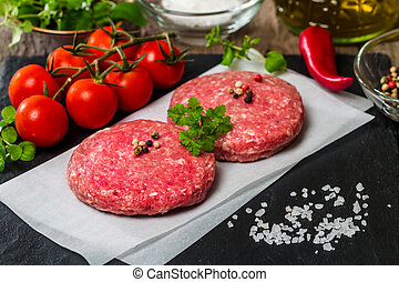 Raw Minced burger Meat with Herb and Spice Prepared for ...