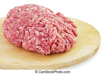 Raw Minced Meat. Isolated on a White Background.
