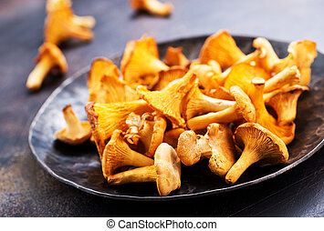 raw mushroom, fresh mushrooms on a table,stock photo